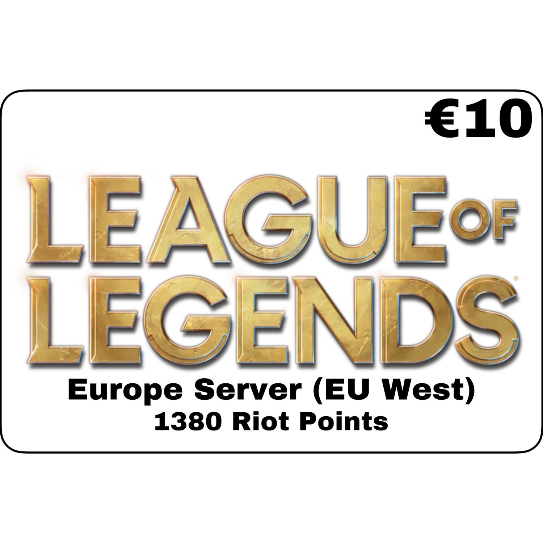 League of Legends €10 Europe Server 1380 Riot Points EU West