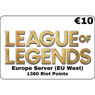 League of Legends EUR €10 Europe Server 1380 Riot Points