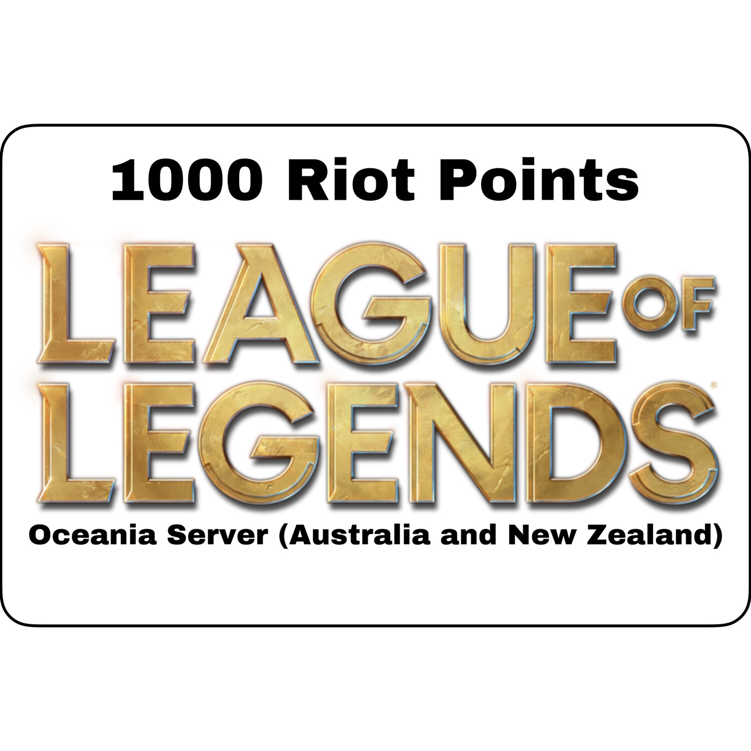 League of Legends Oceania Server 1000 Riot Points AU