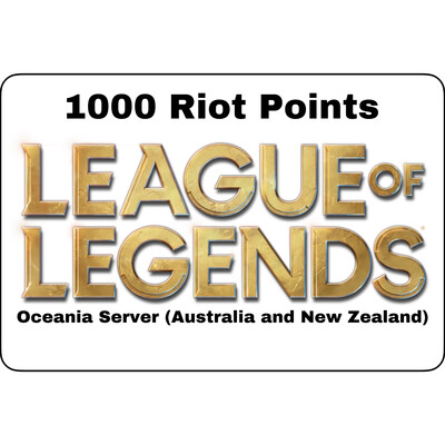 League of Legends AUD $10 Oceania Server 1000 Riot Points