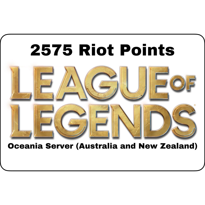 League of Legends AUD $25 Oceania Server 2575 Riot Points