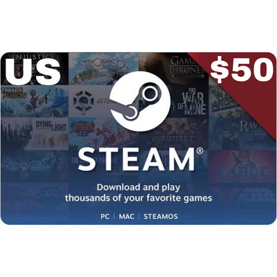 Steam Wallet Code USD $50 US ONLY