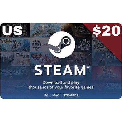 Steam Wallet Code USD $20 US ONLY