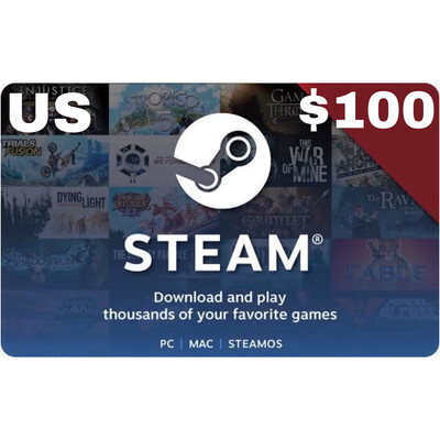 Steam Wallet Code USD $100 US ONLY