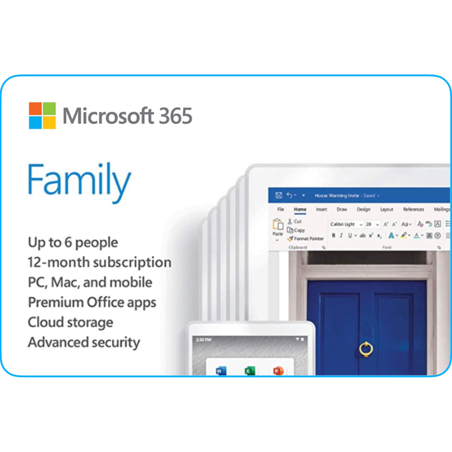 Microsoft 365 Family Product Key 1 Year Subscription