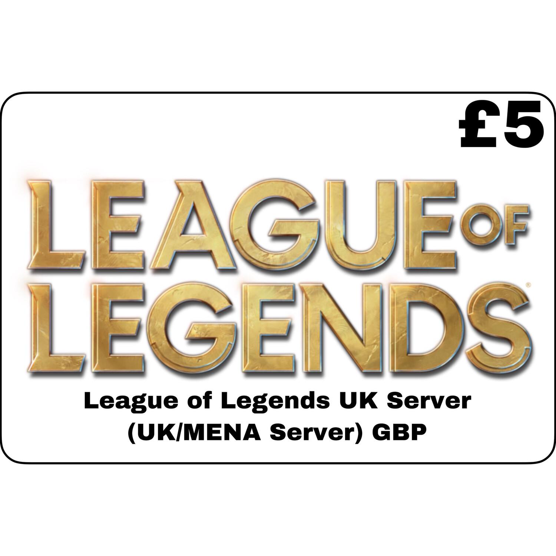 League of Legends GBP £5 UK MENA Server 750 Riot Points