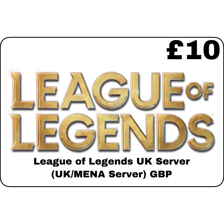 League of Legends GBP £10 UK MENA Server 1580 Riot Points