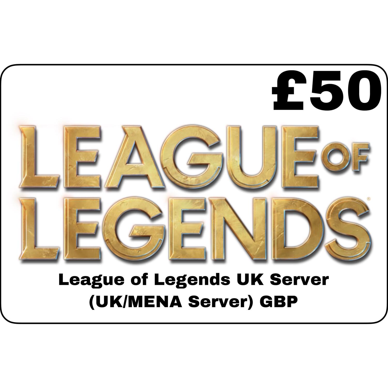 League of Legends GBP £50 UK MENA Server 8250 Riot Points