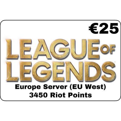 League of Legends EUR €25 Europe Server 3450 Riot Points