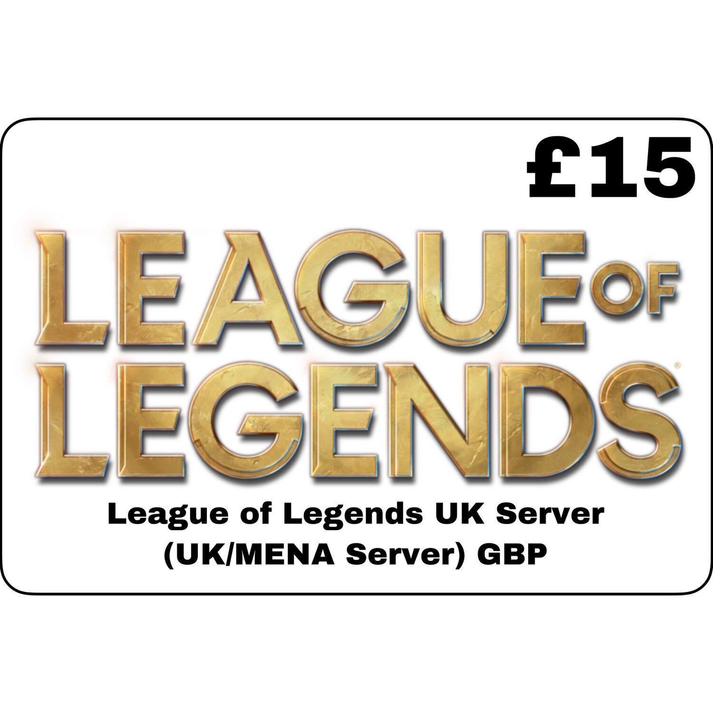 League of Legends GBP £15 UK MENA Server 2525 Riot Points