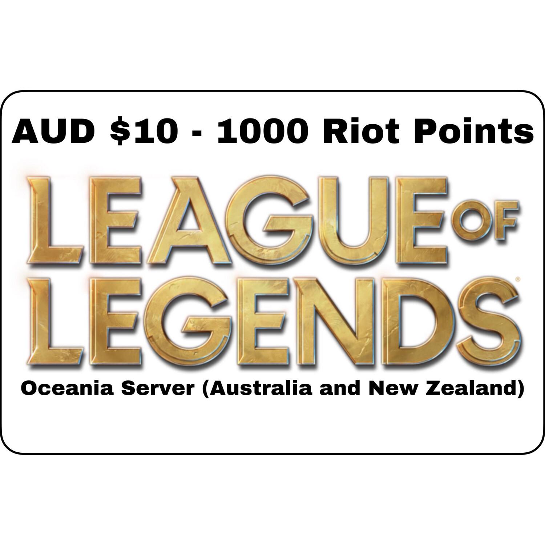 League of Legends AUD $10 Oceania Server 1000 Riot Points