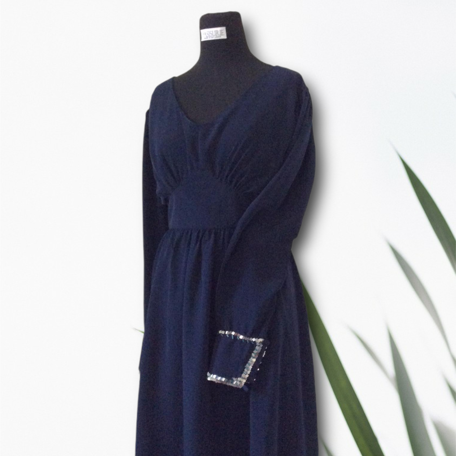 Blue fit and flare dress with embellished long sleeves