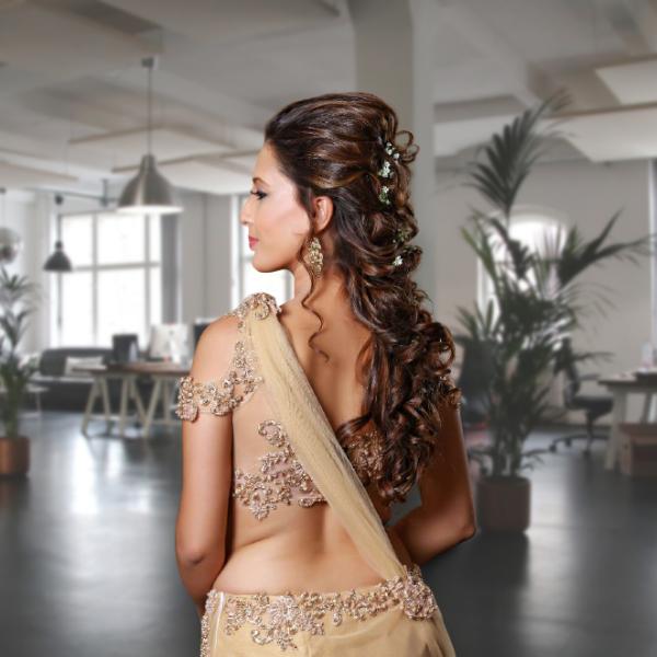 Rose Gold fully beaded made up saree and jacket