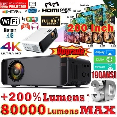 Multimedia 4K WiFi LED Projector For Home Cinema