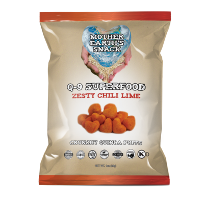 Q-9 SuperFood Zesty Chili Lime Puffs  Qty 6 - 1oz bags