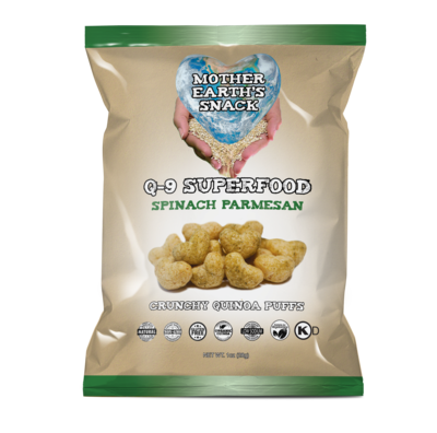 Q-9 SuperFood Spinach Parmesan Puffs  Qty 6 - 1oz bags