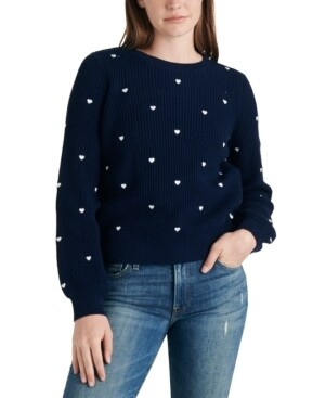 Lucky Brand Embroidered Heart Sweater Navy Blue (Retail $89.50) Size S