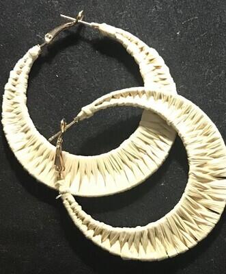 White Woven Pierced Earrings