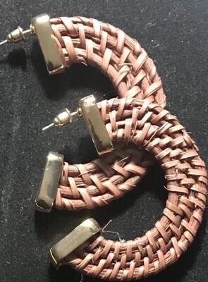 Brown Woven Pierced Earrings