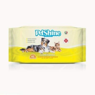 Pet Shine | 40 Salviette con Clorexidina
