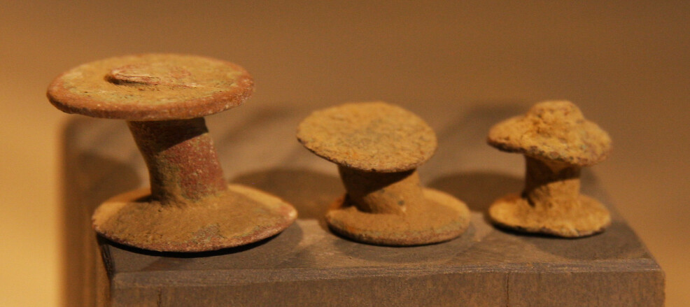 JUST ADDED ON 5/29 - THE BATTLE OF ANTIETAM / MILLER'S CORNFIELD - 3 Brass Accoutrement Studs - Found between 1975 and 1979