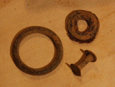 3/3 - PRICE REDUCED 30% - ANTIETAM / NEAR THE MUMMA FARM & EAST WOODS - Three Relics including Grommet with Cloth Attached