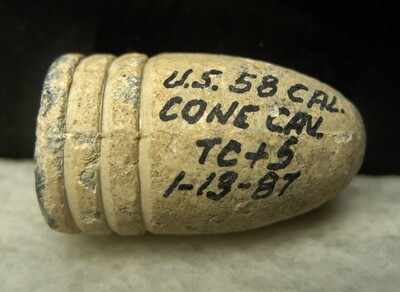 JUST ADDED ON 10/23 - JOHN MARKS COLLECTION - .577 Caliber Bullet - Possibly a Confederate Lube Grooved -  with Marks' Written Identification