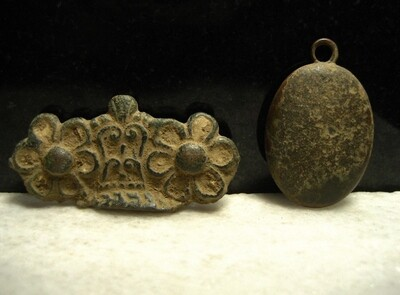 JUST ADDED ON 12/11 - CONFEDERATE TRENCHES / MINE RUN CAMPAIGN - Two Brass Relics Including Locket Half