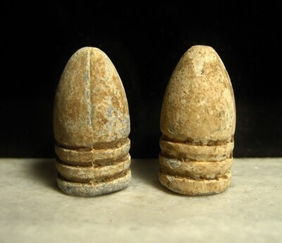 JUST ADDED ON 2/12 - GETTYSBURG - THE JOHN'S FARM / PICKETT'S CHARGE / ROSENSTEEL COLLECTION - Two .54 Caliber Bullets - found by the Sanders Brothers 1930s-1950s
