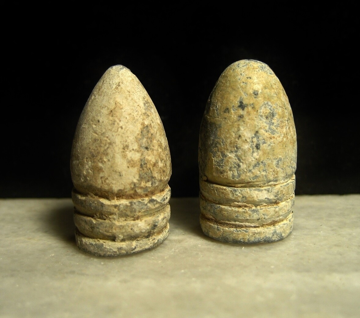 JUST ADDED ON 2/26 - GETTYSBURG - THE JOHN'S FARM / PICKETT'S CHARGE / ROSENSTEEL COLLECTION - Two .58 Caliber Bullets - found by the Sanders Brothers 1930s-1950s