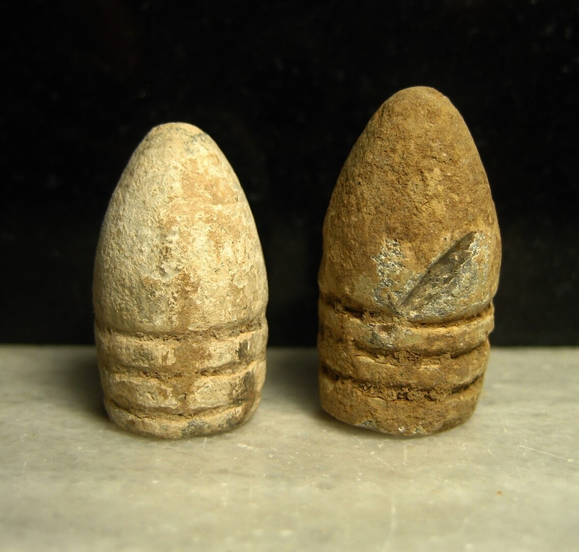 JUST ADDED ON 3/24 - THE BATTLE OF CHANCELLORSVILLE - Two .58 Caliber Bullets - One Variant Possibly Confederate