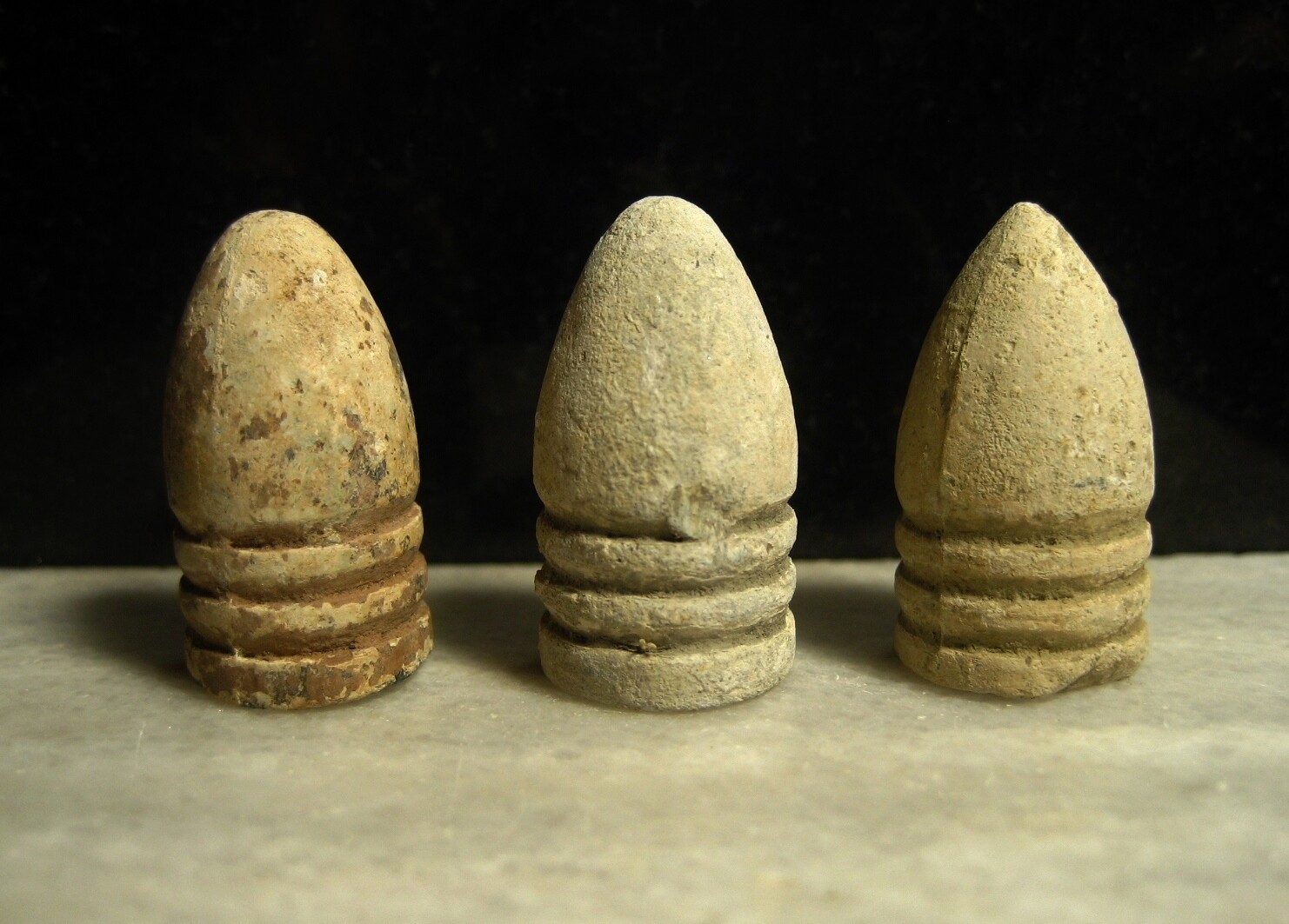 JUST ADDED ON 4/1 - BATTLE OF GETTYSBURG / CULP'S HILL - Two .58 Caliber Bullets and One .54 Caliber Bullet