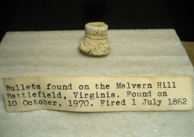 JUST ADDED ON 4/29 - THE BATTLE OF MALVERN HILL / SEVEN DAYS BATTLES - Nice Partially Mushroomed Confederate Gardner Bullet with Original Collection Label