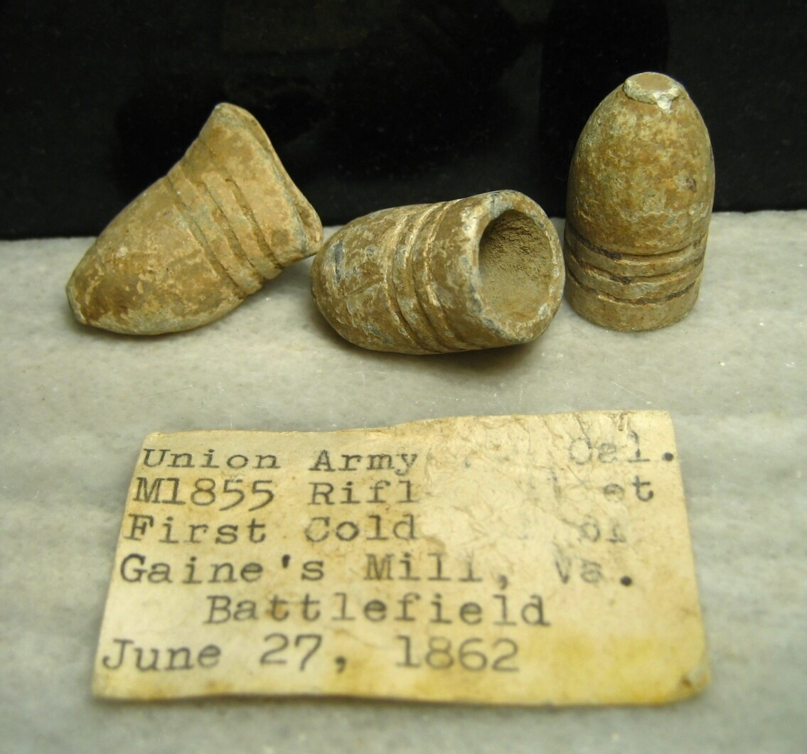 JUST ADDED ON 5/14 - THE BATTLE OF GAINES' MILL - Three .58 Caliber Williams Regulation Bullets with Original Collection Label