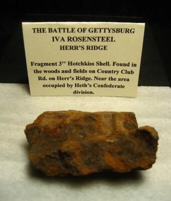 JUST ADDED ON 6/8 - GETTYSBURG - HETH'S DIVISION / HERR'S RIDGE - ROSENSTEEL FAMILY - Fragment of a Hotchkiss Artillery Shell