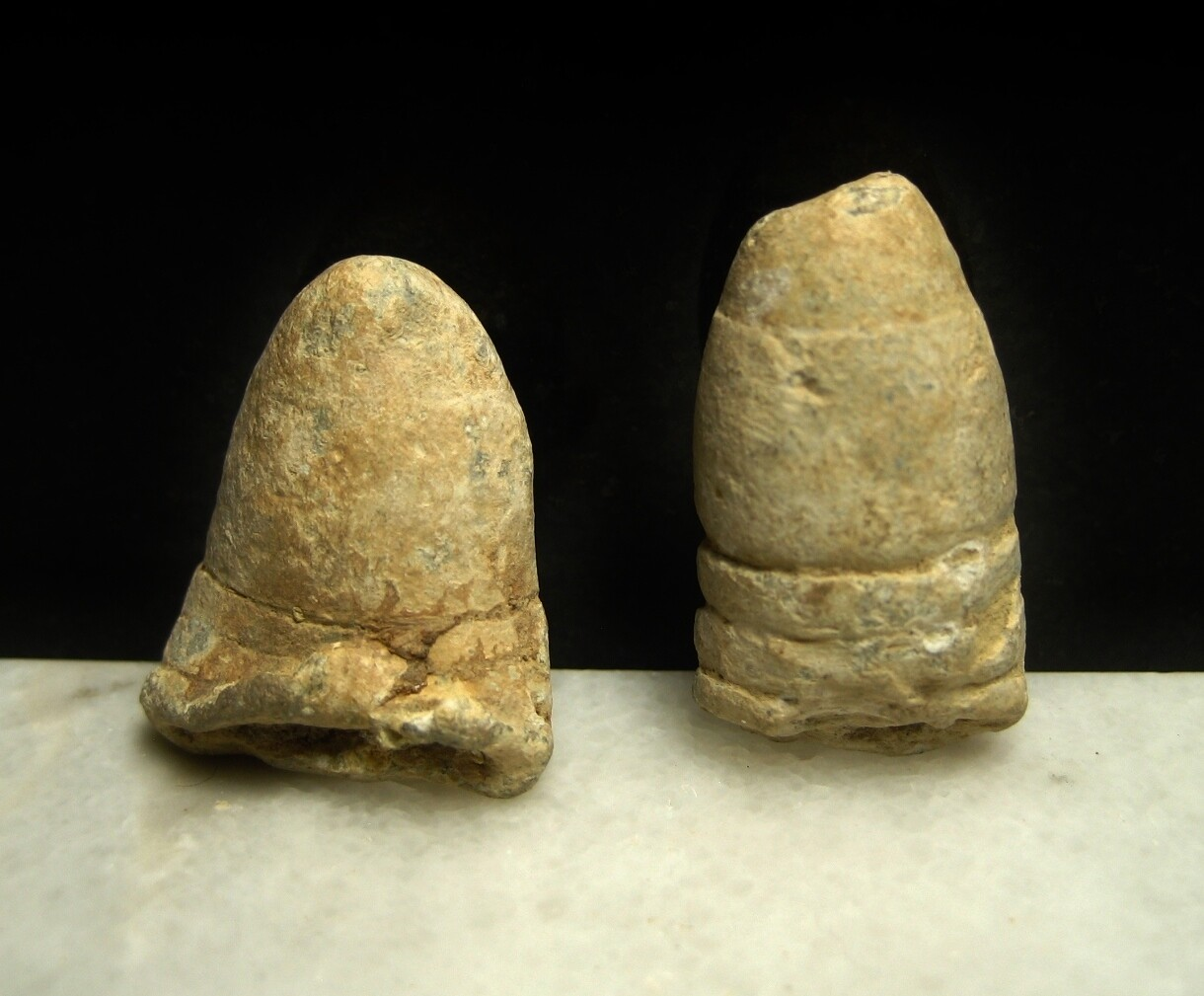 JUST ADDED ON 7/23 - THE BATTLE OF FREDERICKSBURG / AREA OF MEADE'S ATTACK - Two Fired Bullets with Light Ram Rod Marks - found April, 1971