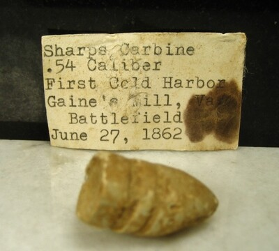 JUST ADDED ON 8/6 - THE BATTLE OF GAINES' MILL - Fired .54 Caliber Sharps Bullet with Original Typed Collection Label