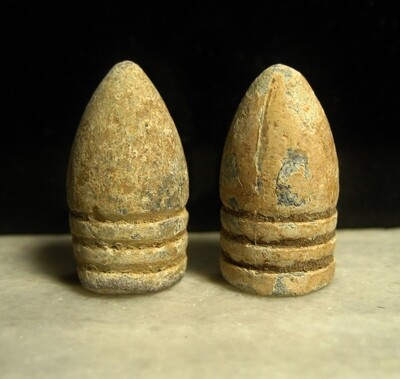 JUST ADDED ON 8/6 - GETTYSBURG - THE JOHN'S FARM / PICKETT'S CHARGE / ROSENSTEEL COLLECTION - Two .58 Caliber Bullets - found by the Sanders Brothers 1930s-1950s