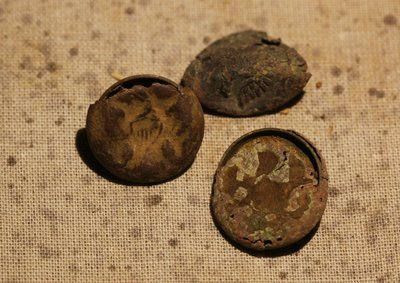 JUST ADDED ON 2/28 - 1862-1863 UNION WINTER CAMP IN STAFFORD, VIRGINIA - Three Eagle Cuff Buttons