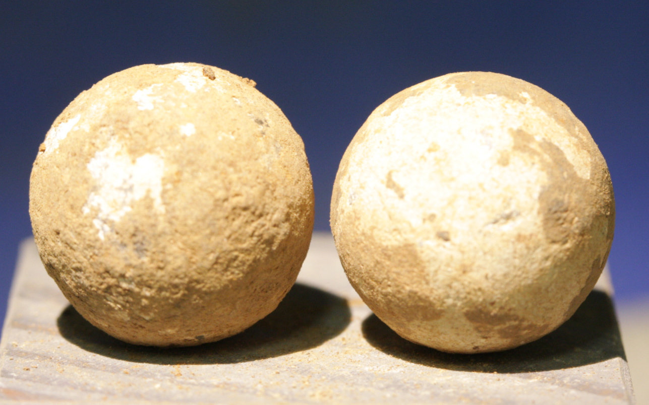 JUST ADDED ON 3/14 - CONFEDERATE CAMP / LEESBURG, VIRGINIA / BATTLE OF BALL'S BLUFF - Two .69 Caliber Round Balls - from a Relic Hunter's Old Boxed Collection