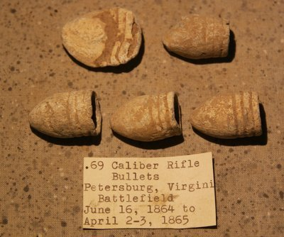 3/3 - PRICE REDUCED 35%  - THE SIEGE OF PETERSBURG - 5 .69 Caliber Bullets - with Original Collection Label