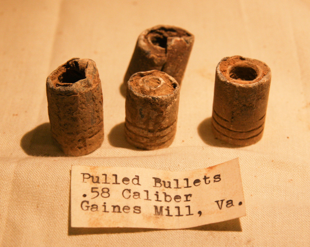 JUST ADDED ON 8/1 - THE BATTLE OF GAINES' MILL - Four Misfired/Pulled Bullets with Deep Bullet Worm Marks found in 1963 with Original Collection Label