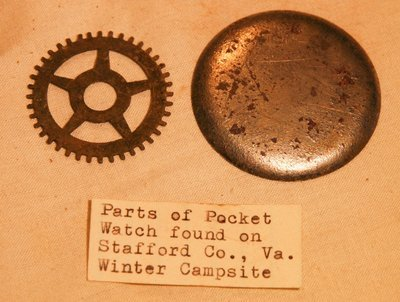 JUST ADDED ON 8/16 - 1862-1863 UNION WINTER CAMP IN STAFFORD, VIRGINIA - Pocket Watch Parts with Original Collector's Label