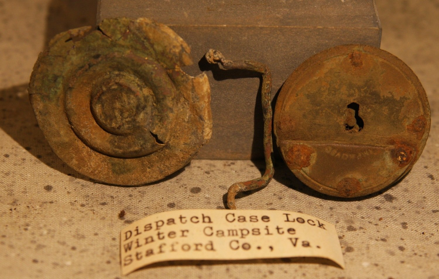 JUST ADDED ON 8/28 - 1862-1863 UNION WINTER CAMP IN STAFFORD, VIRGINIA - Case Lock and Rosette with Original Collector's Label