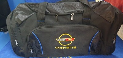 HIGH QUALITY CORVETTE TRAVEL BAG WITH C4 LOGO -600 L x 260 W x 280 H BLACK / RED TRIM (# LEEBC4) 2B6