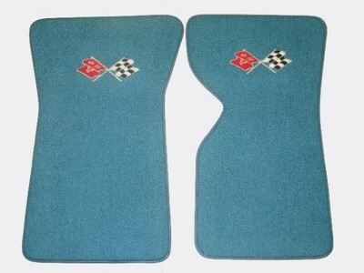 MAT SET-FLOOR-80-20 LOOP-WITH EMBROIDERED CROSS FLAGS LOGO-COLORS-PAIR-70-72 (#EC975LF)