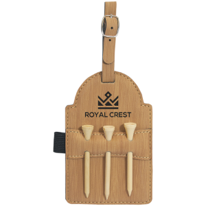 Leatherette  Golf Bag Tag with 3 wooden Tees (Custom Engraved)