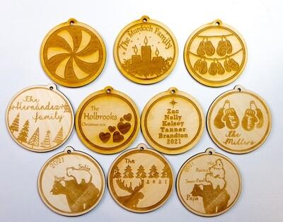 """4"""" Laser CUSTOM Engraved Christmas Ornament"""