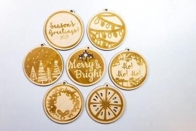 "4"" Laser BASIC Engraved Christmas Ornament"