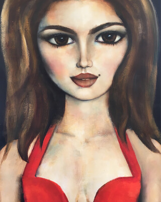 Cindy Crawford Versace Red Dress original acrylic and oil on paper